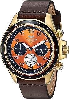 Vestal 'ZR2' acero inoxidable y piel Casual reloj de cuarzo, color: café (modelo: zr243l22.DB)