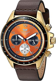 Vestal 'ZR2' Quartz Stainless Steel and Leather Casual Watch, Color:Brown (Model: ZR243L22.DB)