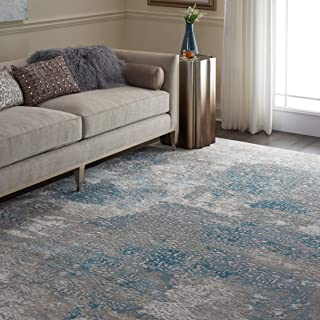 Nourison Karma Vintage Damask Ivory/Light Blue Area Rug 7'10