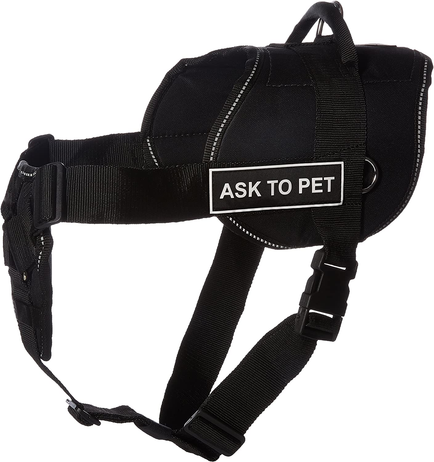 Dean & Tyler DT H FUNCH A2P RTXL Fun Ask To Pet  Dog Harness with Padded Chest Piece, Fits Girth Size 86cm to 119cm, XLarge, Black with Reflective Trim