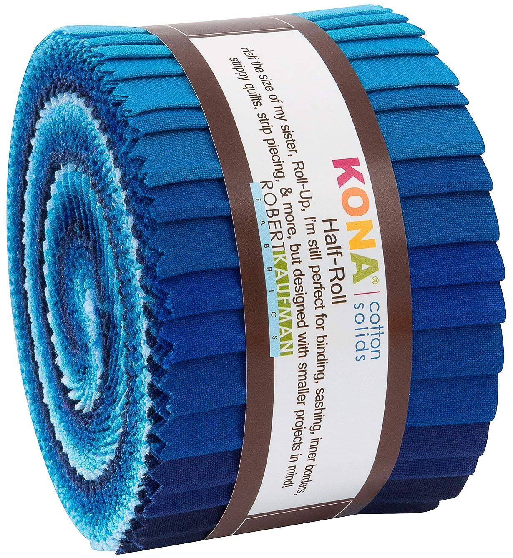 Kona Cotton Solids Waterfall Half Roll 24 2.5-inch Strips Jelly Roll Robert Kaufman HR-154-24