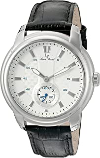 Lucien Piccard Men's 'Duval' Quartz Stainless Steel and Leather  Watch, Color:Black (Model: LP-40032-02S)