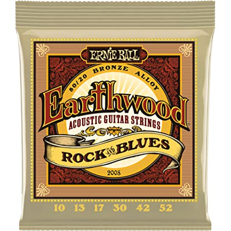 Ernie Ball Earthwood Rock y Blues w/Plain G 80/20 Cuerdas de guitarra acústica de bronce - 10-52 Gauge