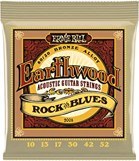 Ernie Ball Earthwood Rock and Blues 80/20 Bronze Acoustic Set with plain G,  .010 - .052