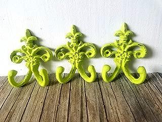 Lime Green Petite Fleur De Lis Hooks - Set of 3 - Cast Iron - Matching Screws Included