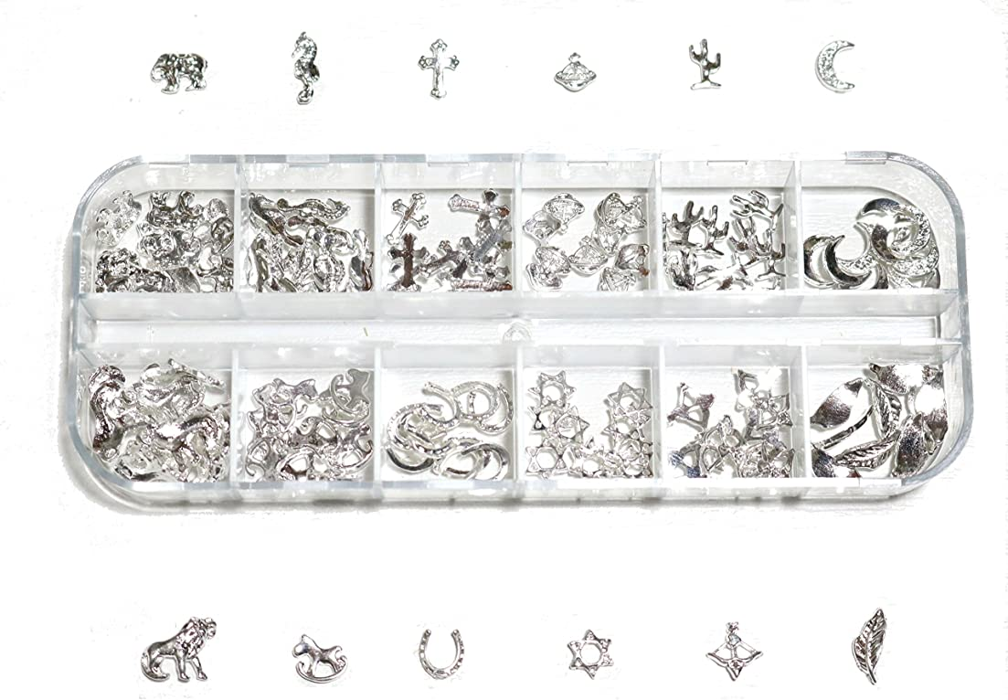 黒くするトレーダーディレクター【jewel】 ゴールドorシルバー メタルパーツ 12種類 各10個入り カラー選択可能☆ (シルバー)