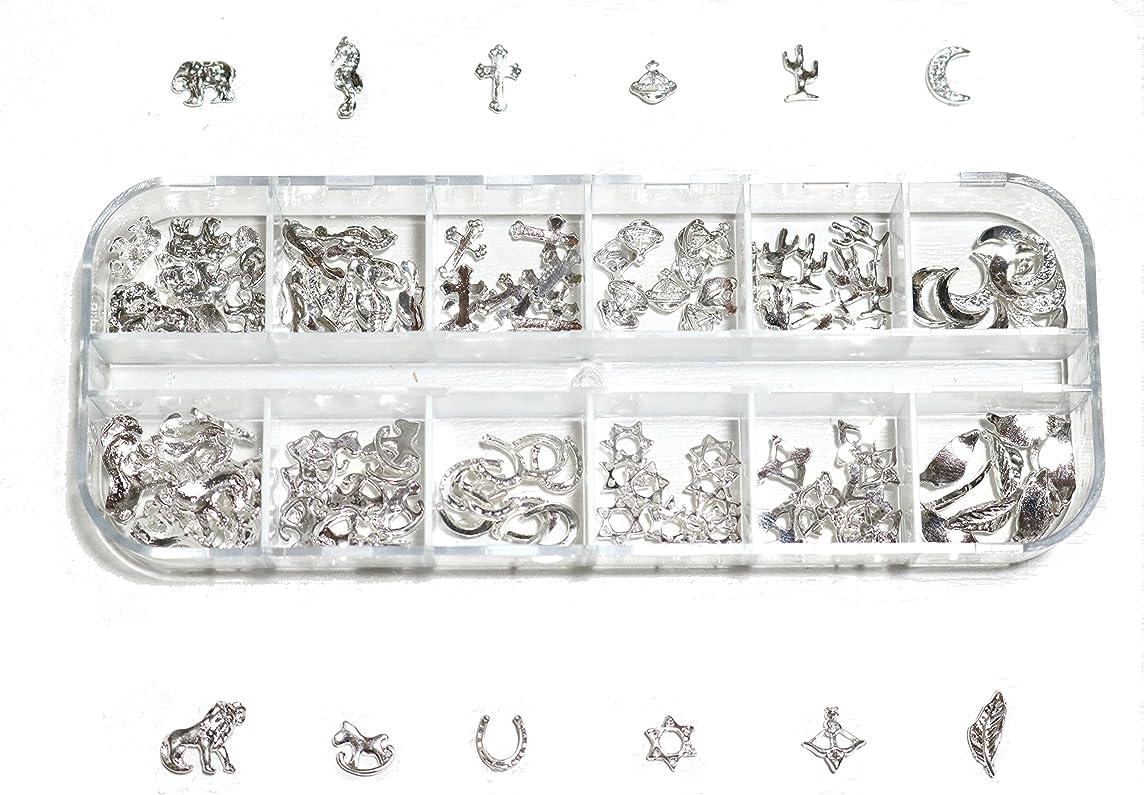 メアリアンジョーンズ支店のぞき穴【jewel】 ゴールドorシルバー メタルパーツ 12種類 各10個入り カラー選択可能☆ (シルバー)
