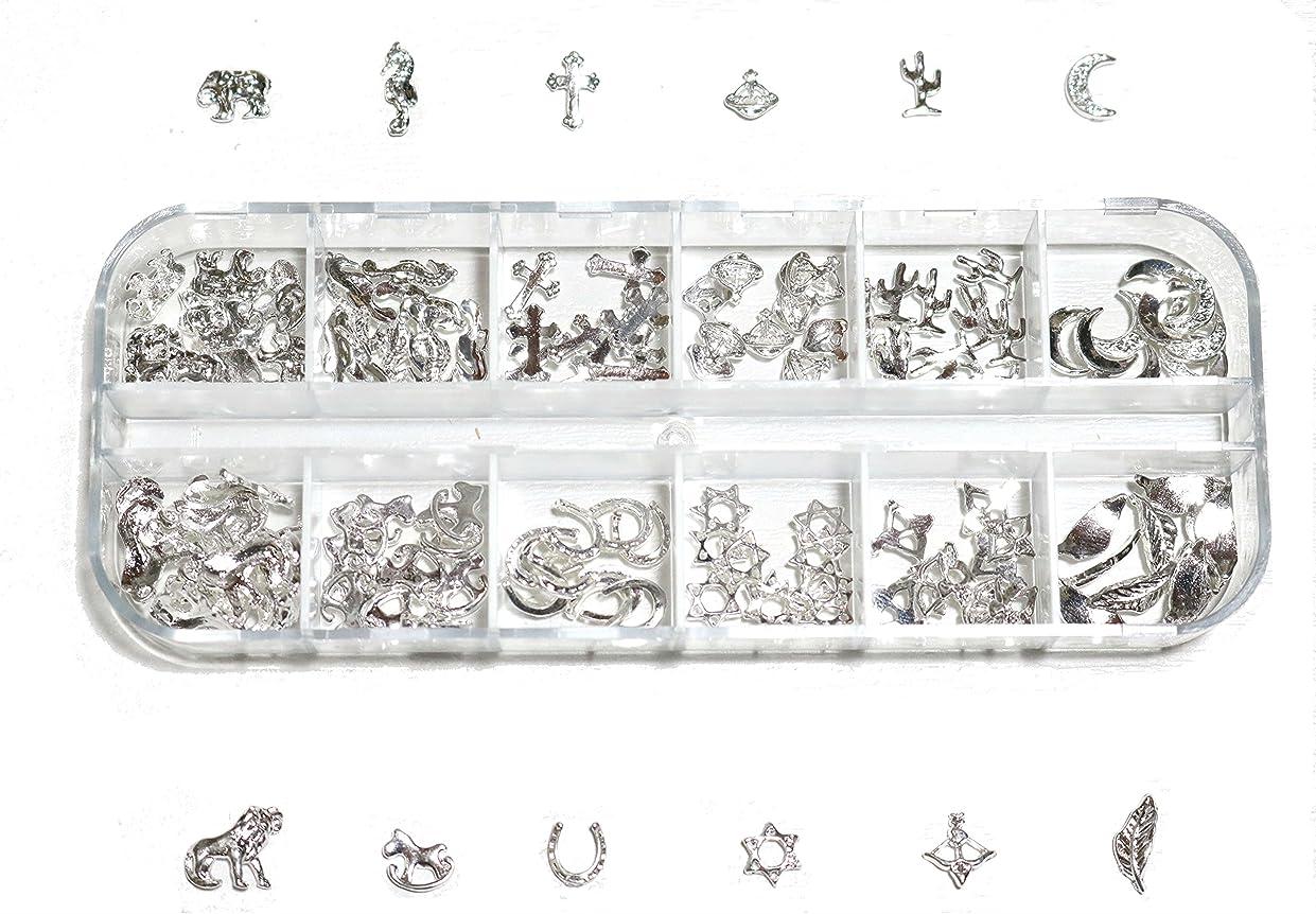 こどもの日買い物に行く長くする【jewel】 ゴールドorシルバー メタルパーツ 12種類 各10個入り カラー選択可能☆ (シルバー)