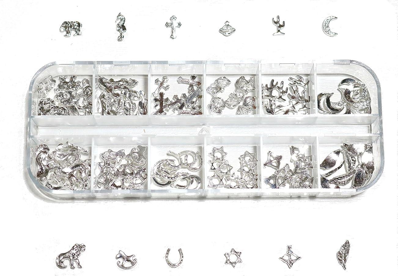 反発職人品【jewel】 ゴールドorシルバー メタルパーツ 12種類 各10個入り カラー選択可能☆ (シルバー)