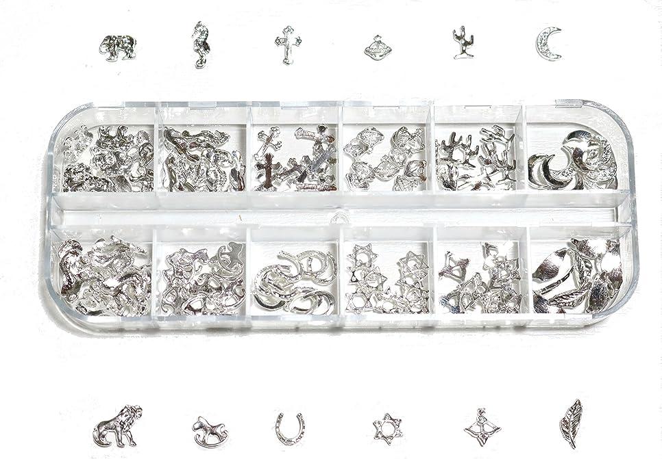 返還めるドーム【jewel】 ゴールドorシルバー メタルパーツ 12種類 各10個入り カラー選択可能☆ (シルバー)