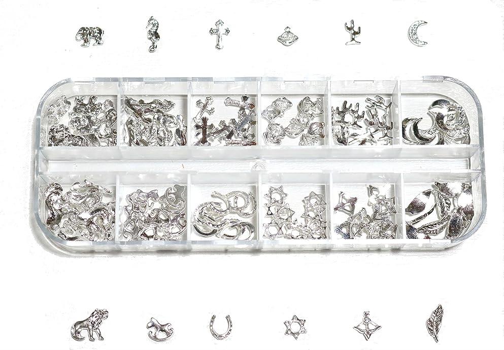 本灰距離【jewel】 ゴールドorシルバー メタルパーツ 12種類 各10個入り カラー選択可能☆ (シルバー)