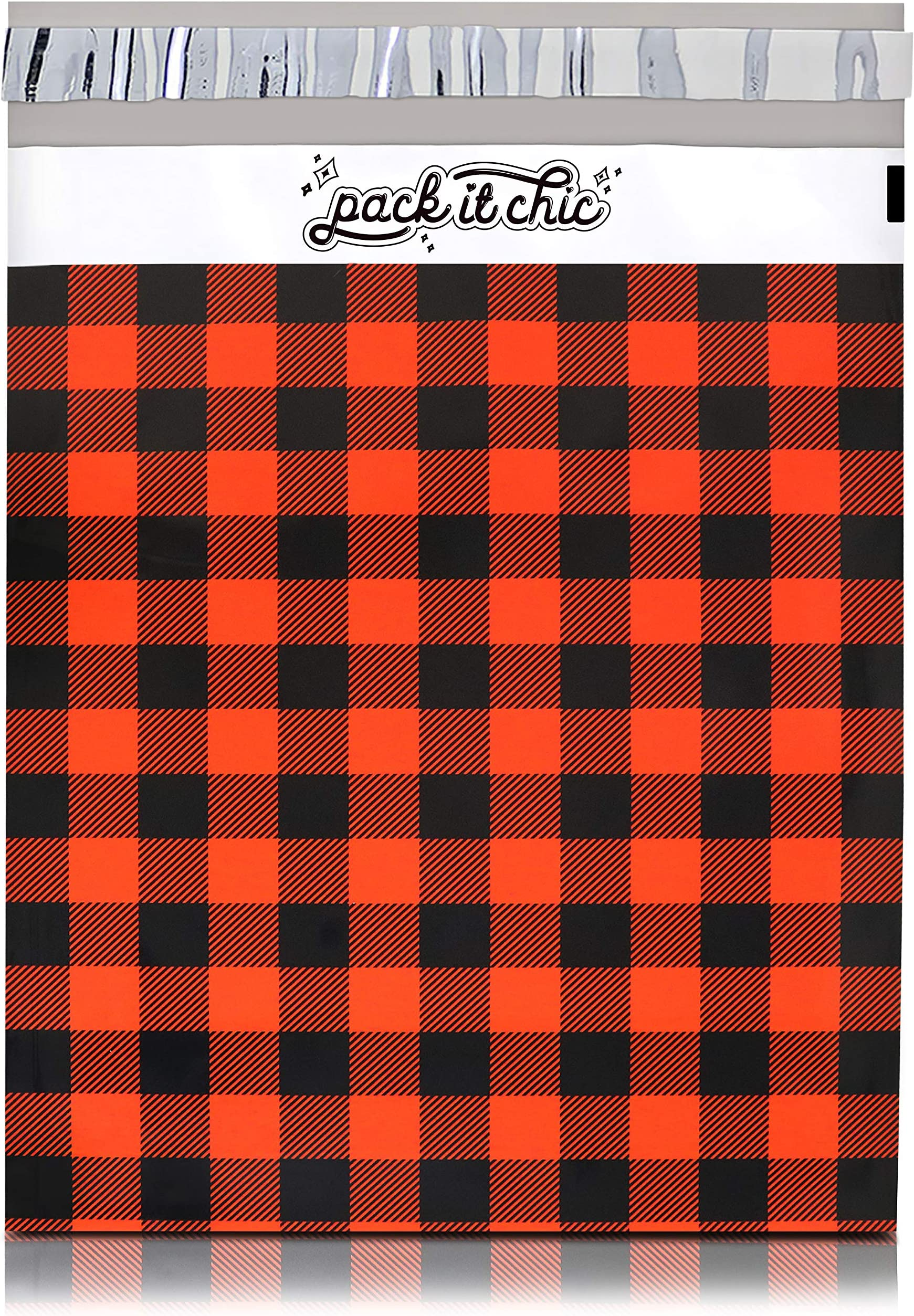 Pack It Chic - 10X13 (100 Pack) Red Buffalo Plaid Poly Mailer Envelope Plastic Custom Mailing & Shipping Bags - Self Seal