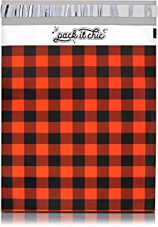 Pack It Chic - 10X13 (100 Pack) Red Buffalo Plaid Poly Mailer Envelope Plastic Custom Mailing & Shipping Bags - Self Seal (More Designs Available)