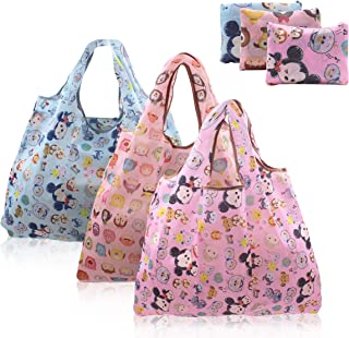 Finex - Set of 3 - Minnie Foldable Reusable Tote Recycle Shopping Bag - lightweight portable large capacity Random Color