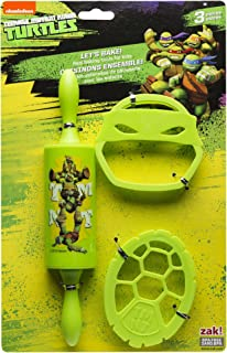 Zak Designs Lets Bake! Rolling Pin and Cookie Cutters for Cooking with Kids, Ninja Turtles