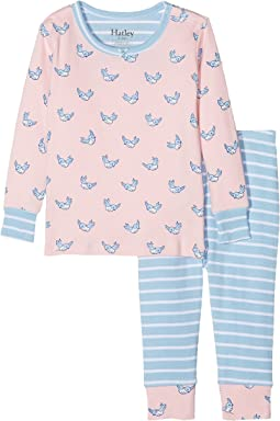 Hatley Kids Fluttering Birds Long Sleeve Mini Pajama Set (Infant)