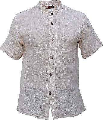 Gheri Camisa de manga corta sin cuello con botones lisos de ...