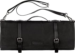 Chef Knife Roll Bag - Handmade Waxed Canvas and Leather Knife Bag Stores 10 Knives + Zipper Pocket and Shoulder Strap (Black)