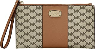 Michael Kors Womens Center Stripe Large Zip Clutch Handbag