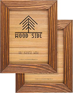 Rustic Wooden Picture Frame 5x7 Inch - Set of 2-100% Natural Eco Distressed Wood and Real Glass - Made for Wall and Table Top Display - Honey Brown