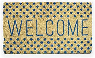 Avera Products | Welcome Blue Polka Dots, Natural Coir Fiber Doormat, Anti-Slip Mat Back