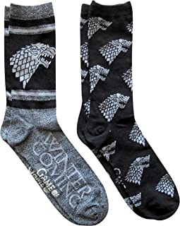 Hyp Game of Thrones Stark Men's Crew Socks 2 Pair Pack Shoe Size 6-12