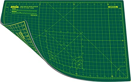ANSIO Craft Cutting Mat Self Healing A3 Double Sided 5 Layers - Quilting, Sewing, Scrapbooking, Fabric & Papercraft - Imperial/Metric 17 Inch x 11 Inch / 44cm x 29cm - Green/Green