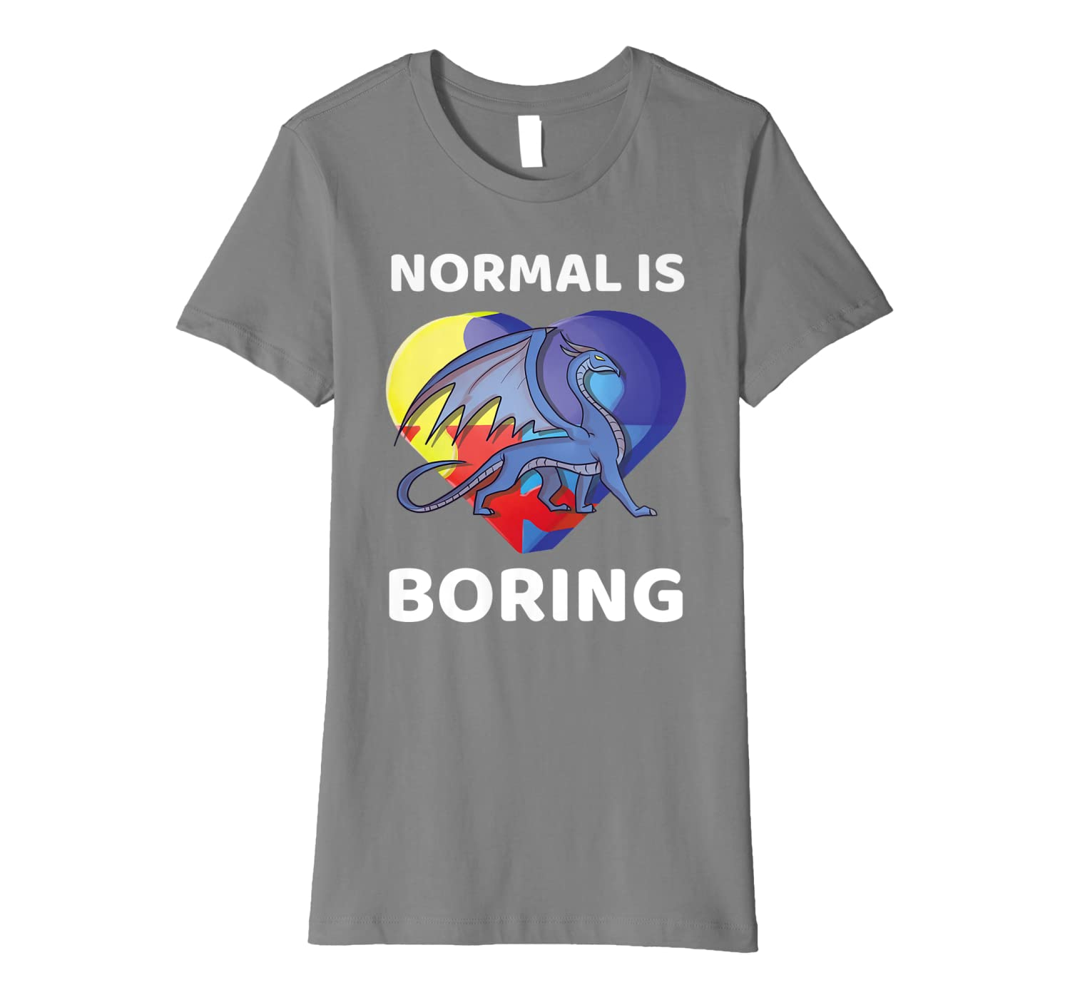 Normal Is Boring World Autism Awareness Dragon Gift Cute Premium T-Shirt