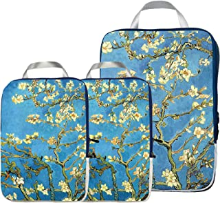 Packing Cubes Travel Organizer- Compression Packing Cubes for Carryon Luggage (Almond Blossom)