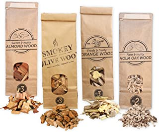Smokey Olive Wood 4X 500ml selección de virutas de Madera para Barbacoa & ahumar, Olivo + Haya, Naranjo, Almendro, encina