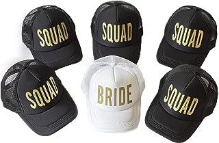 6 Pack Bride Squad Baseball Hat Bachelorette Party Bridal Wedding Shower Mesh Caps Adjustable Headwear for Girls Women