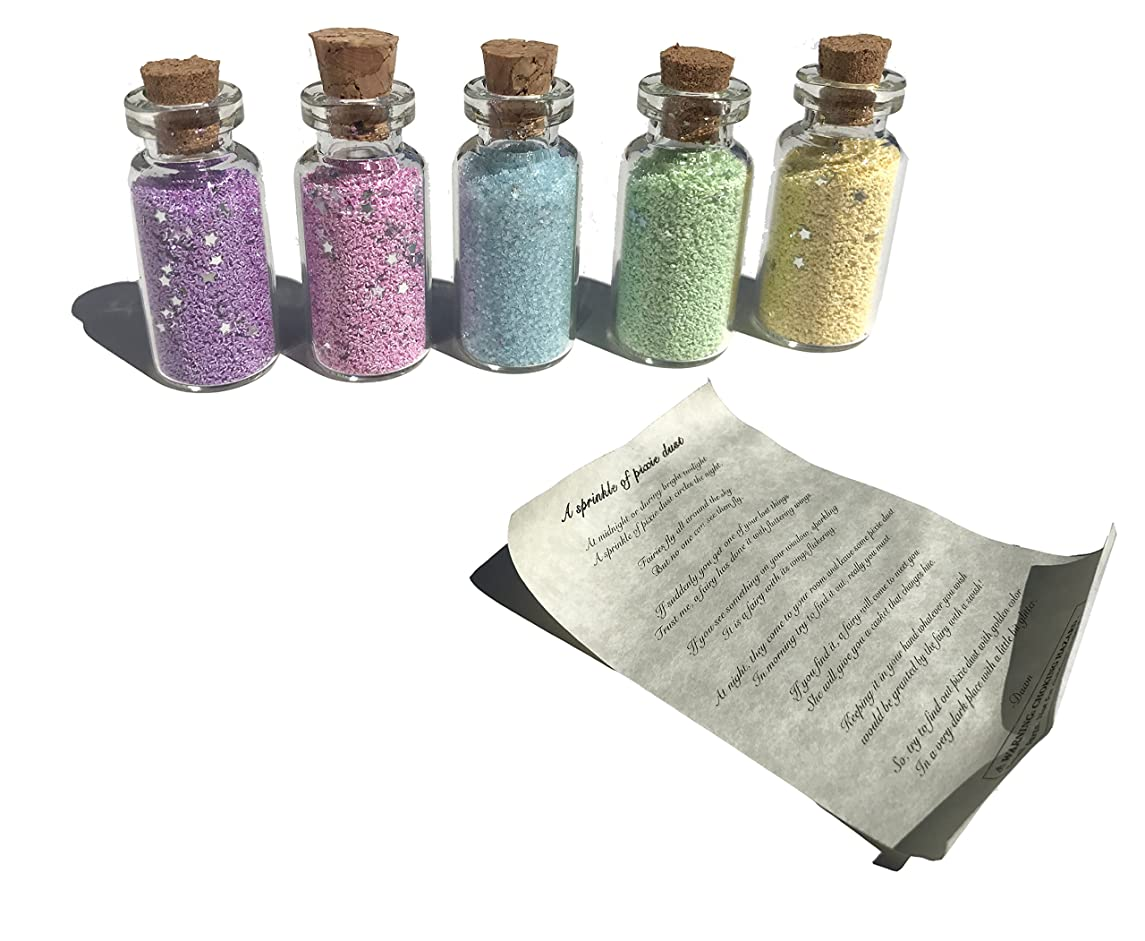 Multipack of 5 Tiny Vials of Fairy Pixie Dust Cute Colors (Glitter with Stars)