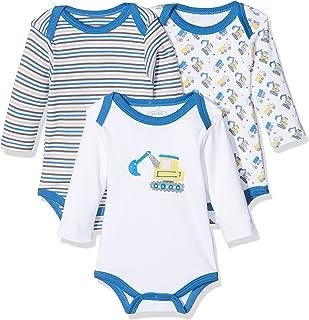 Schnizler Baby-Jungen Langarm Body 3er Pack Bagger, Oeko-Tex Standard 100