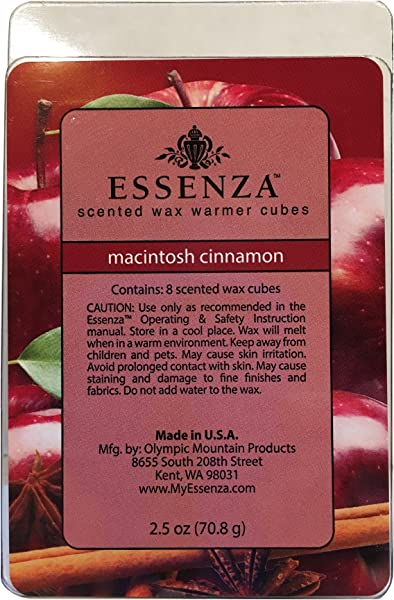 ESSENZA Scented Wax Warmer Cube Melts 7 5 Oz 3 Pack 8 Cubes Per Pack 24 Macintosh Cinnamon