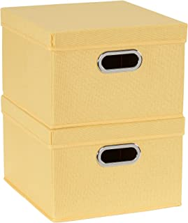 Household Essentials 704-1 Bin Lids and Handles | 2 Pack | Yellow Fabric Box Set,