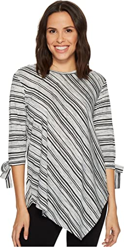 Long Sleeve Tie Cuff Asymmetrical Hem Modern Track Stripe Top