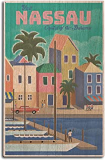 Lantern Press Nassau, Bahamas – Waterside Dock – Lithograph (10×15 Wood..