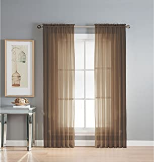 Window Elements Diamond Sheer Voile Extra Wide 56 x 90 in. Rod Pocket Curtain Panel, Chocolate