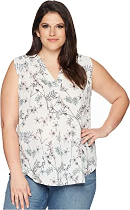 Plus Size Sleeveless Botanical Flora V-Neck Blouse