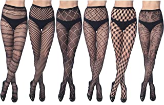 Fishnet Women's Lace Stockings Tights Sexy Pantyhose Extended Sizes (Pack of 6) …