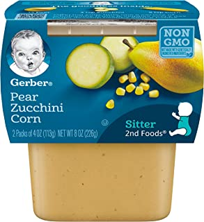 Gerber 2nd Foods, Pear, Zucchini & Corn Pureed Baby Food, 4 Ounce (Pack of 16)