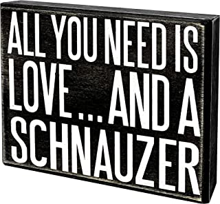Best JennyGems - All You Need is Love and a Schnauzer - Wooden Stand Up Box Sign -Schnauzer Gift Series, Schnauzer Moms, Schnauzer Lovers, Shelf Knick Knacks Review