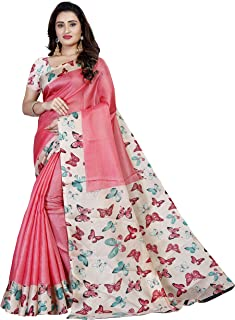 bfeb1b4e17 Shree Maruti Enterprise Women's Kalamkari Khadi Silk Saree Blouse Piece  (Light Pink)