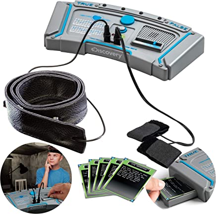 Discovery Kids Electronic Lie Detector Portable Spy Kit with 11 Liar Detection Cards, Learn the Signs of Deception like a Secret Agent, Machine Detects Your Sweat, Imaginative Play and Exploration Toy
