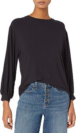 Amazon Brand - Daily Ritual Women's Rayon Spandex Wide Rib Relaxed-Fit Blouson-Bracelet Sleeve Drop Shoulder Knit Top