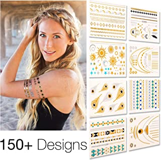Flash Tattoos | Temporary Tattoos For Women & Kids - 8 Sheets Semi Permanent Tattoo - Best Tattoo Temporary Deal - Silver & Gold Metallic Temporary Tattoo Sticker - Glitter Shimmer Effect Fake Tattoos