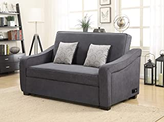 Serta Convertible Sofa with Nail-head Trim, Grey
