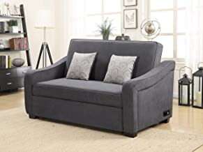Serta Convertible Sofa with Nail-head Trim, Grey