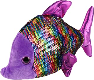 Athoinsu FlipSequin Stuffed FishSoft Plush Toy with Reversible Sparkle Sequins Creative Sea Life Gifts for Kids Toddlers, Purple, 12''