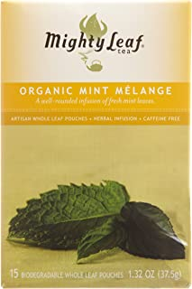 Mighty Leaf Organic Tea, Mint Melange, 15-Count Whole Leaf Pouches 1.32 Oz (Pack of 3)